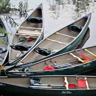 canoes in a pattern